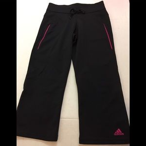 ADIDAS Capri Workout Pants Black Pink Small 💪🏽